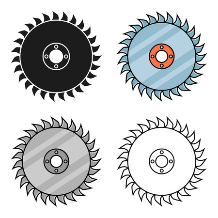 dangerous work: Saw disc icon in cartoon style isolated on white background. Sawmill and timber symbol stock vector illustration.