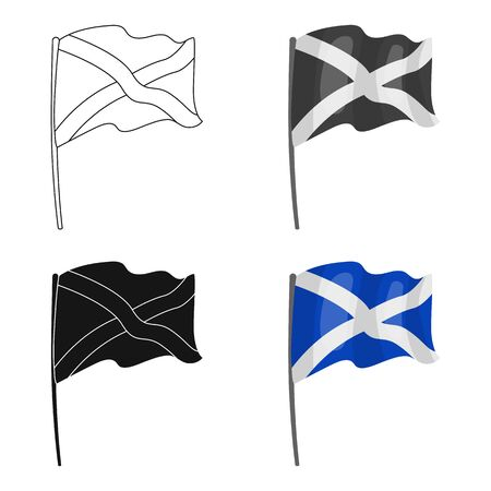 scotish: Flag of Scotland icon in cartoon style isolated on white background. Scotland country symbol stock vector illustration.