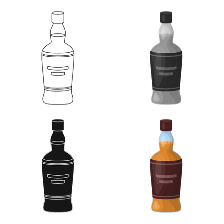 scotch: Bottle of scottish whiskey icon in cartoon style isolated on white background. Scotland country symbol stock vector illustration.