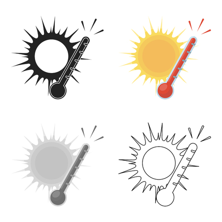 Heat icon in cartoon style isolated on white background. Weather symbol stock vector illustration.