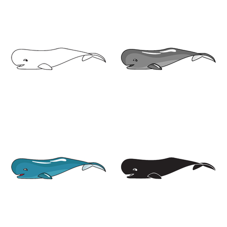 cachalot: Sperm whale icon in cartoon style isolated on white background. Sea animals symbol stock vector illustration.