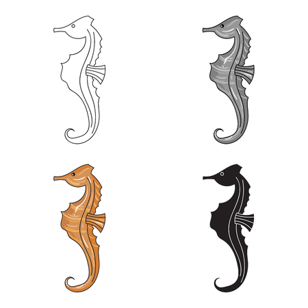 Seahorse icon in cartoon style isolated on white background. Sea animals symbol stock vector illustration.