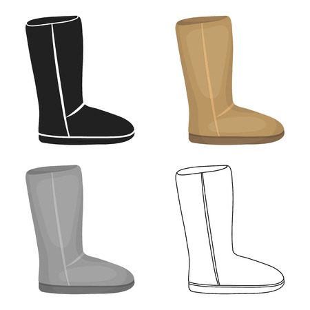 Ugg boots icon in cartoon style isolated on white background. Shoes symbol stock vector illustration. Illustration