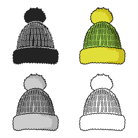 Knit cap icon in cartoon style isolated on white background. Ski resort symbol stock vector illustration.