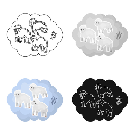 Count sheep icon in cartoon design isolated on white background. Sleep and rest symbol stock vector illustration.