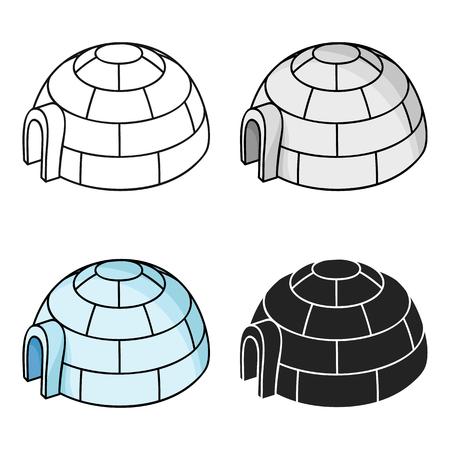 antarctica: Igloo icon in cartoon style isolated on white background. Ski resort symbol stock vector illustration.
