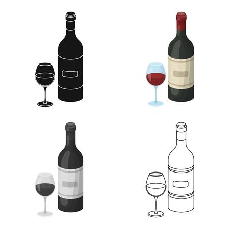 Spaanse wijn fles met glas pictogram in cartoon-stijl op een witte achtergrond. Spanje land symbool stock vector illustratie.