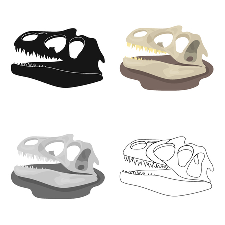Dinosaur fossils icon in cartoon style isolated on white background. Dinosaurs and prehistoric symbol stock vector illustration. Illustration