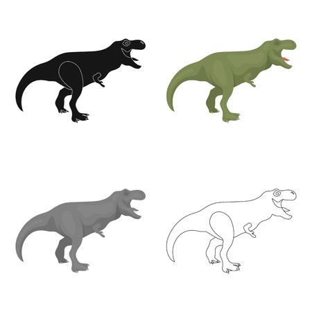 Dinosaur Tyrannosaurus icon in cartoon style isolated on white background. Dinosaurs and prehistoric symbol stock vector illustration.