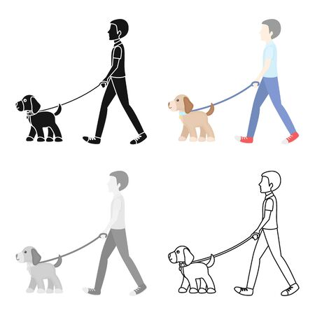 Dog walk vector icon in cartoon style for web