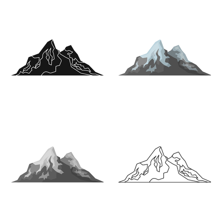 Sharp mountains, on the tops of which the snow melts.Different mountains single icon in cartoon style vector symbol stock illustration.