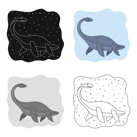 Zee dinosaurus pictogram in cartoon stijl geïsoleerd op een witte achtergrond. Dinosaurussen en prehistorische symbool voorraad vectorillustratie