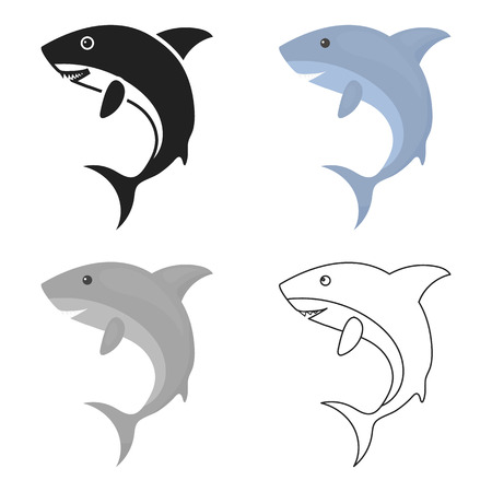 terrified: Shark icon cartoon. Singe animal icon from the big animals cartoon.