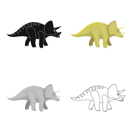 Dinosaur Triceratops icon in cartoon style isolated on white background. Dinosaurs and prehistoric symbol stock vector illustration.
