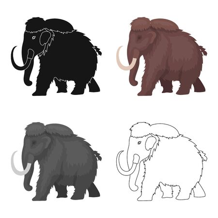 Mammoth icon in cartoon style isolated on white background. Dinosaurs and prehistoric symbol stock vector illustration.