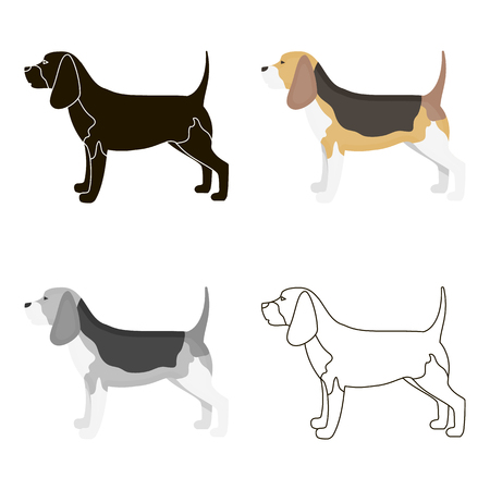 Beagle vector icon in cartoon style for web Illustration