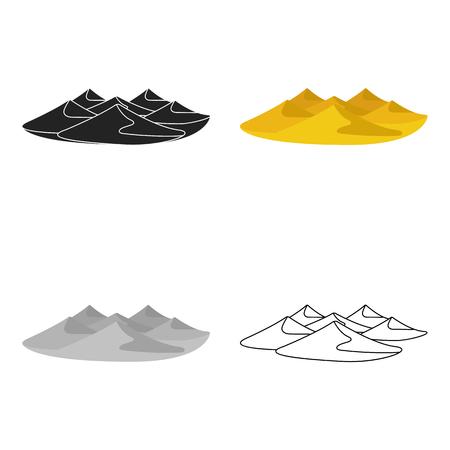 Dunas de icono de estilo de dibujos animados aislado en el fondo blanco. Árabes Unidos símbolo ilustración stock vector.