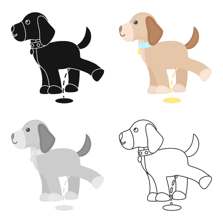 careless: Pissing dog vector icon in cartoon style for web