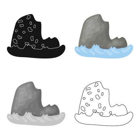 The mountain, which stands at userage sea.mountain which is washed by the ocean.Different mountains single icon in cartoon style vector symbol stock illustration.