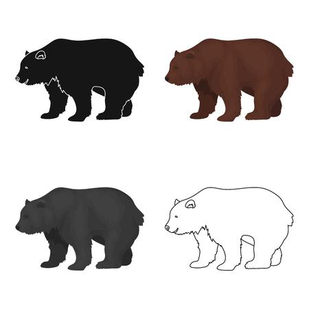 Orso bruno canadese Singola icona del Canada nel web dell'illustrazione delle azione di simbolo di vettore di stile del fumetto.