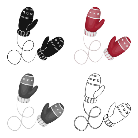mitten: Winter mittens. Canada single icon in cartoon style vector symbol stock illustration web.
