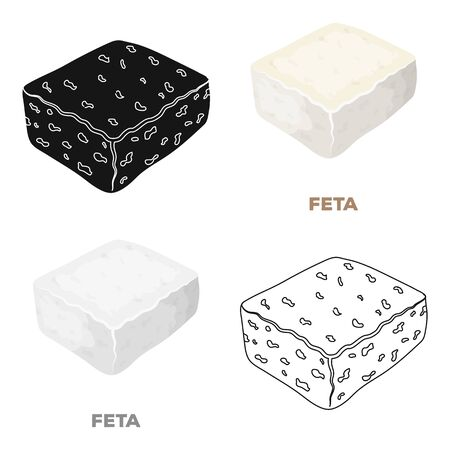 Cheese feta.Different kinds of cheese single icon in cartoon style vector symbol stock illustration web.