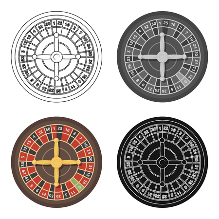 wheel of fortune: Roulette with red and black cells. The most popular casino game in the world.Kasino single icon in cartoon style vector symbol stock illustration.