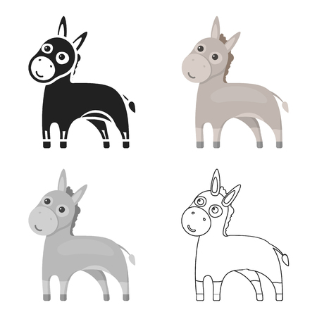 Donkey icon cartoon. Singe animal icon from the big animals cartoon.