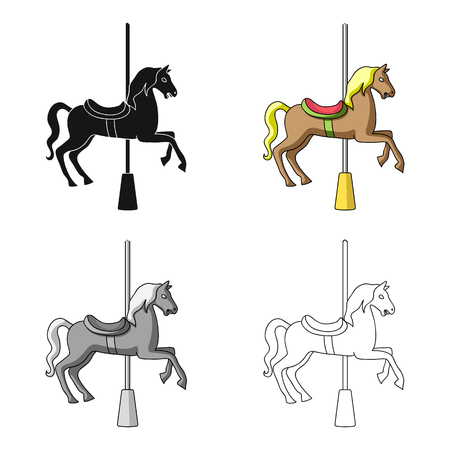 Carousel for children. Horse on the pole for riding.Amusement park single icon in cartoon style vector symbol stock illustration.