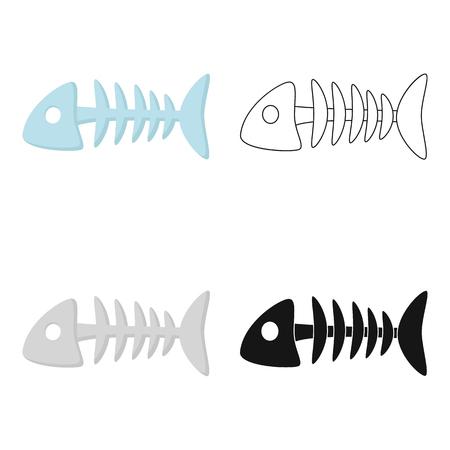 Fish bone icon in cartoon style isolated on white background. Cat symbol stock vector illustration.