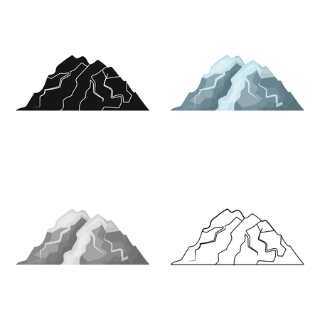 Ice mountain all the cracks.The mountain from which icebergs. Different mountains single icon in cartoon style vector symbol stock illustration.