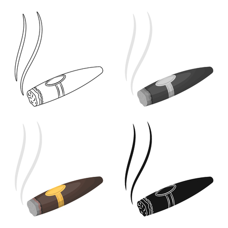 A tattered cigar with smoke. A sign of authority in the casino.Kasino single icon in cartoon style vector symbol stock illustration.