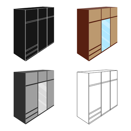 closet door: A large bedroom wardrobe with mirrow and lots of drawers and cells.Bedroom furniture single icon in cartoon style vector symbol stock illustration. Illustration