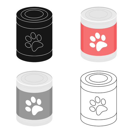 grey cat: Dog food vector icon in cartoon style for web