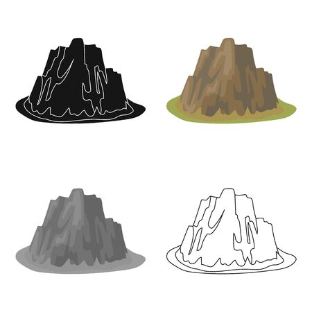 cobble: High steep mountain with grass the dark colors with sharp spikes.Different mountains single icon in cartoon style vector symbol stock illustration. Illustration