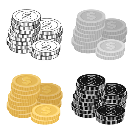 reckoning: A pile of coins for reckoning in a casino. Gambling.Kasino single icon in cartoon style vector symbol stock illustration. Illustration