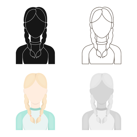 haircutter: Pigtails icon cartoon. Single avatar,peaople icon from the big avatar cartoon.