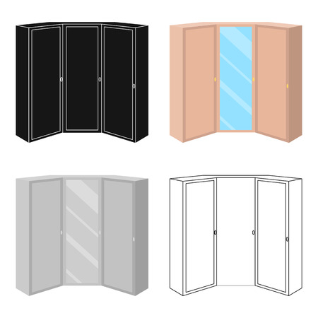 2 つのドアとミラーのピンクの衣装。寝室のワードローブ。寝室家具単一アイコン漫画スタイルのベクトル シンボル ストック イラスト。