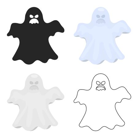 Ghost icon in cartoon style isolated on white background. Black and white magic symbol stock vector illustration.