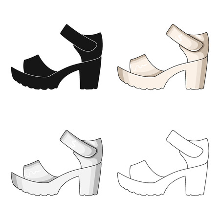 76931081 - Frauen Sommer weißen Sandalen auf einem nackten Fuß.Different  Schuhe einzigen Symbol in Cartoon-Stil Vektor-Symbol stock Illustration. e7fc007da1