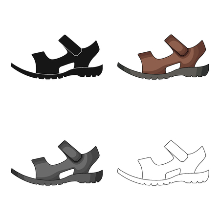 Men summer brown leather sandals on a bare foot.Different shoes single icon in cartoon style vector symbol stock illustration.