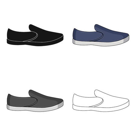 Blue men summer espadrilles . Summer comfortable shoes on the bare feet for everyday wear.Different shoes single icon in cartoon style vector symbol stock illustration.