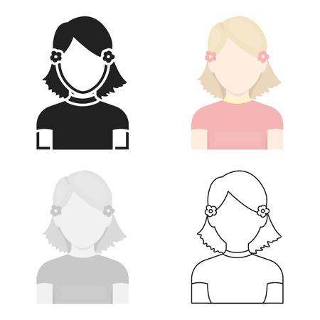Girl icon cartoon. Single avatar,peaople icon from the big avatar cartoon.