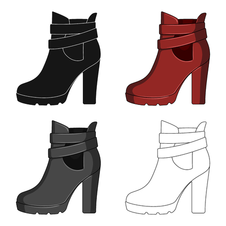 High women red shoes for everyday wear .Different shoes single icon in cartoon style vector symbol stock illustration.