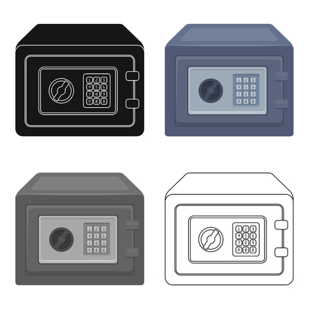 Realistic Steel safe.Safe under combination lock. Metal box is hard to open.Detective single icon in cartoon style vector symbol stock illustration.