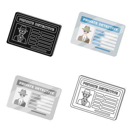 Documents of a private detective. Card that shows the personality of the detective.Detective single icon in cartoon style vector symbol stock illustration.
