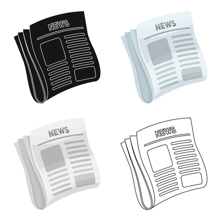 Newspaper, news.Paper, for the cover of a detective who is investigating the case.Detective single icon in cartoon style vector symbol stock illustration.