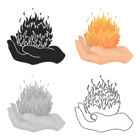 Fire spell icon in cartoon style isolated on white background. Black and white magic symbol stock vector illustration.