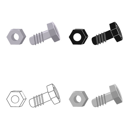 Structural bolt and hex nut icon in cartoon style isolated on white background. Build and repair symbol stock vector illustration. Illustration