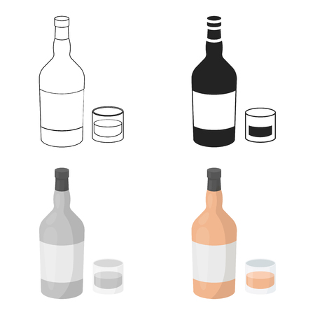 Rum icon in cartoon style isolated on white background. Alcohol symbol stock vector illustration. Illustration